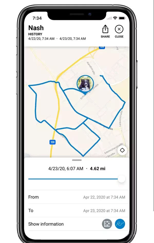 GPS tracker Hund - Aufzeichnung Bewegungsverlauf