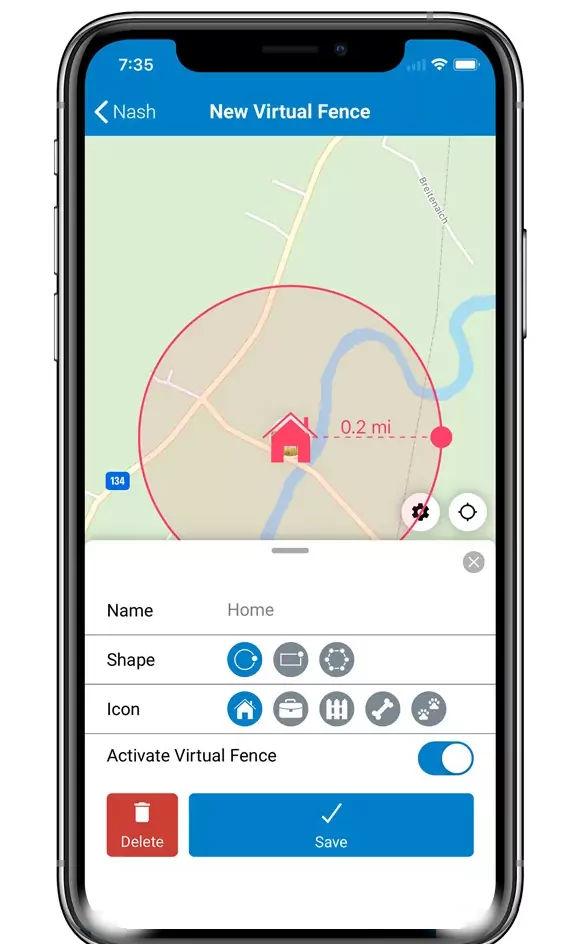 GPS-tracker Hund mit virtuellem Zaun kontrollieren